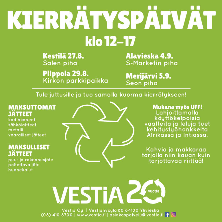 Tässä kuvassa on kerrottu kierrätyspäivien aikataulut paikkakunnittain ja Vestian yhteystiedot.